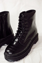 Close Up of the Platform Crocodile Combat Boots