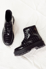 Flat Lay of Platform Crocodile Combat Boots