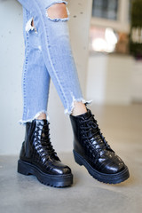 Dress Up model wearing Platform Crocodile Combat Boots