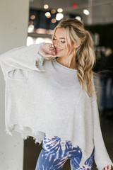 Light Grey - Oversized Distressed Sweater from Dress Up