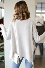 Oversized Distressed Sweater Back View