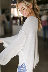 Oversized Distressed Sweater Side View