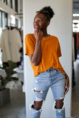 Orange - Dress Up model wearing an Ultra Soft Basic Tee with jeans
