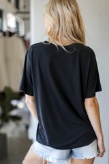 Ultra Soft Basic Tee in Black Back View