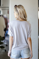 Ultra Soft Basic Tee in Grey Back View