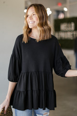 Black - Tiered Babydoll Top from Dress Up
