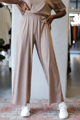 Mocha - Model wearing Wide Leg Pants