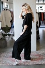 Wide Leg Pants in Black Side View
