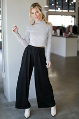 Wide Leg Pants in Black Front View