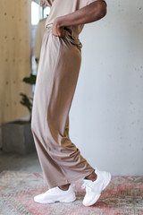 Wide Leg Pants in Mocha Side View