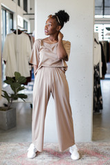 Wide Leg Pants in Mocha Front View
