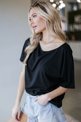 Oversized Top in Black Side View