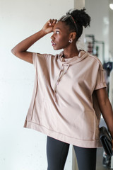 Oversized Cowl Neck Pullover in Mocha Side View
