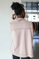 Oversized Cowl Neck Pullover in Mocha Back View