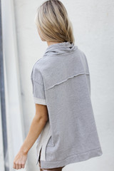 Oversized Cowl Neck Pullover in Heather Grey Back View