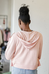 Cropped Zip-Up Hoodie in Blush Back View