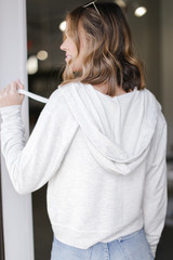 Cropped Zip-Up Hoodie in Heather Grey Back View