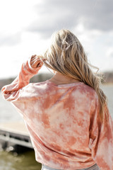 Tie-Dye Cropped Pullover in Blush Back View