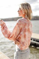 Tie-Dye Cropped Pullover in Blush Side View