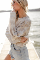 Tie-Dye Cropped Pullover in Grey Side View