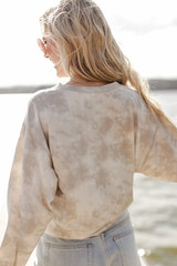 Tie-Dye Cropped Pullover in Grey Back View