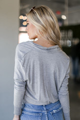 Surplice Blouse in Grey Back View