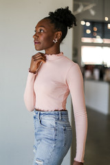 Mock Neck Crop Top in Blush Side View