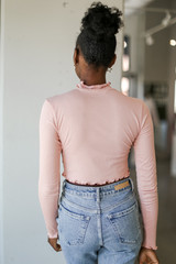 Mock Neck Crop Top in Blush Back View