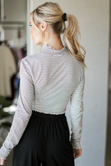Mock Neck Crop Top in White/Black Back View