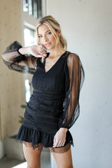 Black - Swiss Dot Ruched Dress from Dress Up