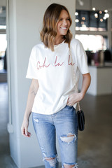 Model wearing the Ooh La La Graphic Tee