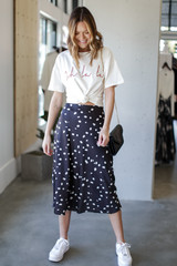 Spotted Midi Skirt Front View