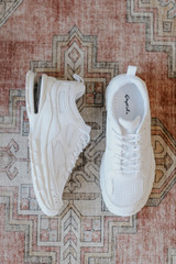 Flat Lay of white Chunky Sneakers