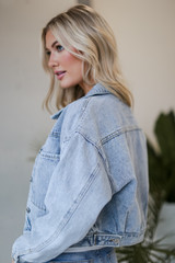 Cropped Denim Jacket in Light Wash Side View