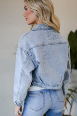 Cropped Denim Jacket in Light Wash Back View