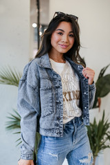 Black - Cropped Denim Jacket in Black Front View
