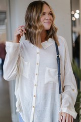 Ivory - Model wearing an Oversized Button-Up Blouse