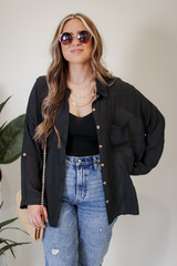 Oversized Button-Up Blouse in Black Front View