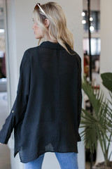 Oversized Button-Up Blouse in Black Back View