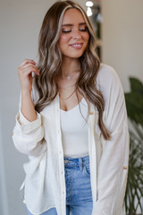 Oversized Button-Up Blouse in Ivory Front View