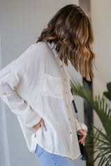 Oversized Button-Up Blouse in Ivory Side View
