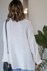 Oversized Button-Up Blouse in Ivory Back View