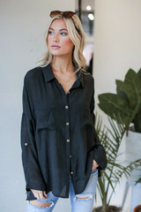 Black - Oversized Button-Up Blouse