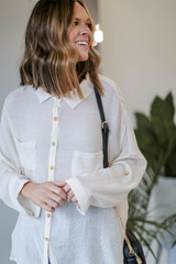 Oversized Button-Up Blouse in Ivory Side Front View on dress up model