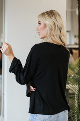 Oversized Top in Black Back View