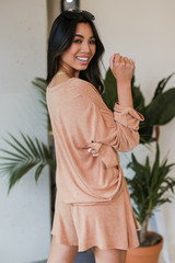 Oversized Top in Rust Side View