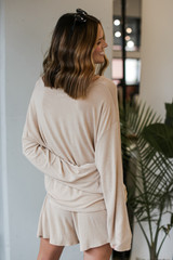 Oversized Top in Taupe Back View