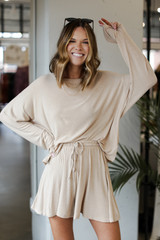 Oversized Top in Taupe Front View