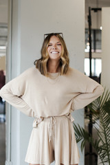 Taupe - Model wearing an Oversized Top with jeans
