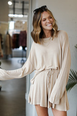 Taupe - Model wearing an Oversized Top